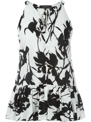 Thakoon Floral Print Sleeveless Top Black