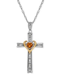 Macy's Citrine 1 4 Ct. T.W. And Diamond Accent Cross Pendant Necklace In Sterling Silver And 14K Gold