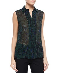 Jason Wu Sleeveless Abstract Print Georgette Blouse