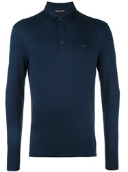 Michael Kors Long Sleeve Polo Shirt Blue