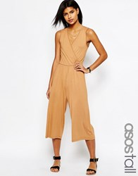 Asos Sleeveless Jersey Jumpsuit With Wrap Front Caramel Brown