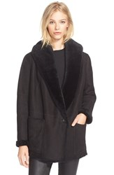 Women's Vince Hooded Genuine Shearling Jacket