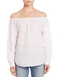 Rag And Bone Textured Off The Shoulder Shirt White