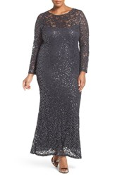 Marina Plus Size Women's Illusion Yoke And Long Sleeve Lace Gown Gunmetal
