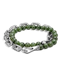 John Hardy Sterling Silver Classic Chain Wrap Bracelet With Jade Green Silver