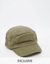 Reclaimed Vintage Army Cap In Green