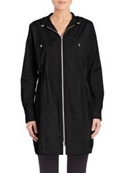Jane Post Grosgrain Trimmed Parka Black