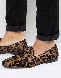 Asos Loafers In Leopard Print Yellow Gold