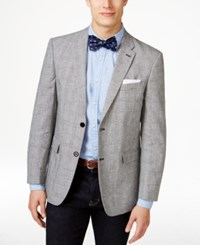 Tommy Hilfiger Men's Black And White Plaid Classic Fit Sport Coat