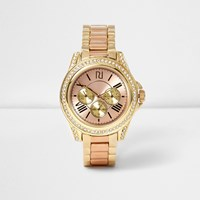 River Island Womens Gold And Rose Gold Tone Chain Watch