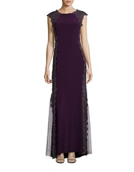 Xscape Evenings Lace Accented Column Gown Plum