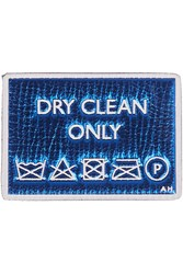 Anya Hindmarch Dry Cleaning Metallic Textured Leather Sticker Blue