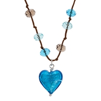 Martick Murano Heart Cluster Necklace Turquoise