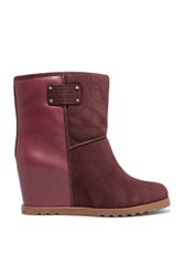 Marc By Marc Jacobs Suede And Leather Wedge Ankle Boots Burgundy