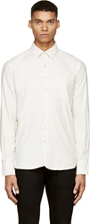 Rag And Bone Ivory Slub Three Quarter Placket Shirt