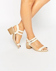 Oasis Bella Block Heel Sandal In Bone Bone Cream