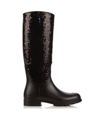 Saint Laurent Festival Sequin Rubber Boots Black