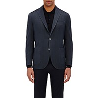 Boglioli Men's Herringbone Travel Jacket Navy