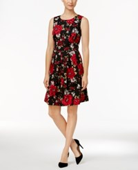 Charter Club Petite Printed Ponte Fit And Flare Dress New Red Amore Combo