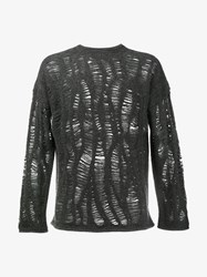 By Walid Cashmere Blend Distressed Jumper Grey Black
