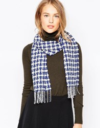 Johnstons Alpine Graphic Cashmere Scarf Blue