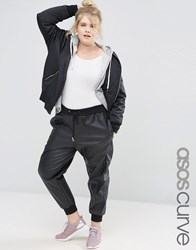 Asos Curve Joggers In Leather Look Black