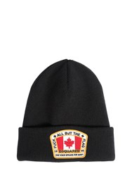 Dsquared Wool Beanie Hat W Logo Patch