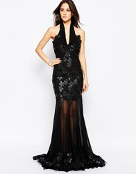Forever Unique Suzette High Neck Fishtail Maxi Dress In Applique Lace Black