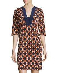 Melissa Masse Chain Print 3 4 Sleeve Dress Navy Tangerine