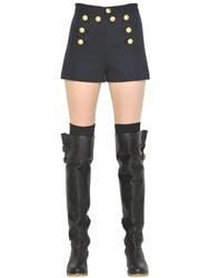 Red Valentino Scallop Button Front Wool Cloth Shorts