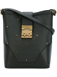 Mcm Gold Tone Studded Crossbody Bag Black