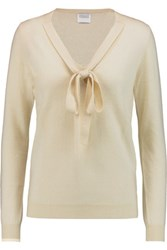 Madeleine Thompson Pussy Bow Cashmere Sweater Cream