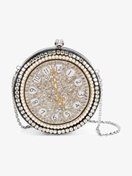 Alexander Mcqueen Clock Embroidered Round Skull Clutch Black Multi Coloured Silver Pearl