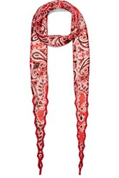Chan Luu Bead Embellished Printed Georgette Scarf Red