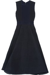 Roksanda Ilincic Pleated Ribbed Crepe Midi Dress Navy