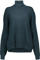 Derek Lam Cashmere And Silk Blend Turtleneck Sweater Petrol