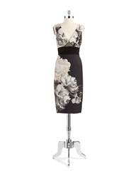 Abs By Allen Schwartz Floral Sheath Dress Black Beige