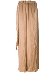 Cedric Charlier High Waisted Wide Leg Trousers Nude And Neutrals