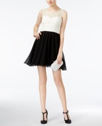 As U Wish Juniors' Embellished Colorblocked A Line Dress Black Ivory