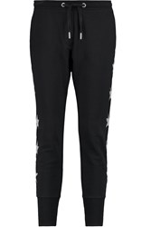 Zoe Karssen Embroidered Cotton Jersey Tapered Pants Black
