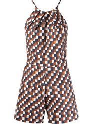 Andrea Marques Geometric Print Playsuit Brown