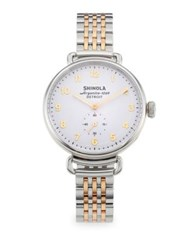 Shinola The Cass Pvd Goldtone Stainless Steel And Double Wrap Leather Strap Watch Silver Gold