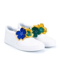 Lanvin Floral Leather Trainers White Green Yellow Blue Bright Blue Emerald G