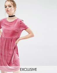 Reclaimed Vintage Smock Dress In Velvet Pink Black
