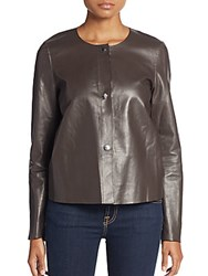 Lafayette 148 New York Snap Front Leather Jacket Granite