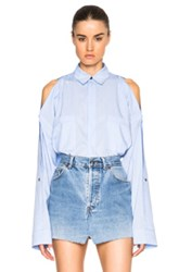 Helmut Lang Open Shoulder Top In Blue