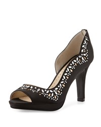 Adrienne Vittadini Glass Crystal Half D'orsay Pump Black
