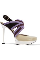 Marni Suede And Patent Leather Pumps Purple
