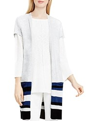 Vince Camuto Two By Boucle Stripe Hem Long Cardigan Grey Heather