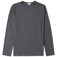 Sunspel Long Sleeve Q2 Crew Neck Tee Grey